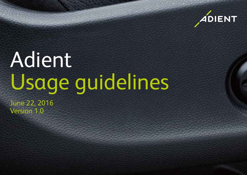 Adient style guide cover
