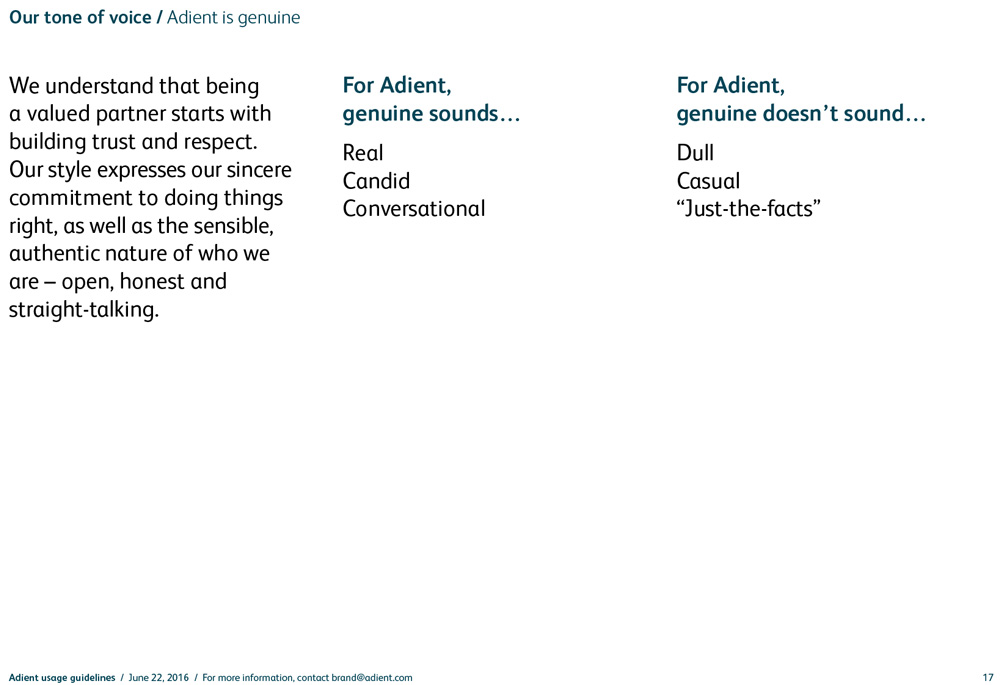 Adient style guide excerpt