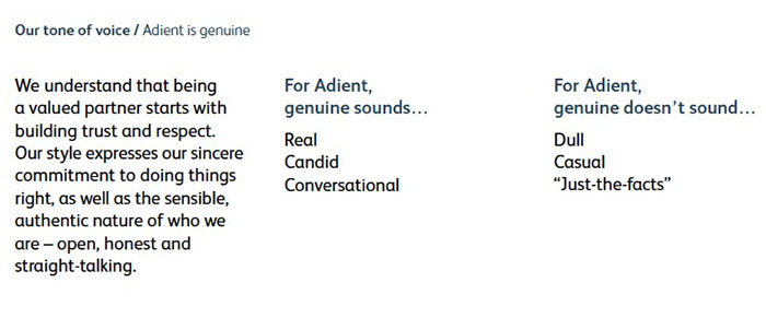 Sample from Adient Style Guide, verbal identity