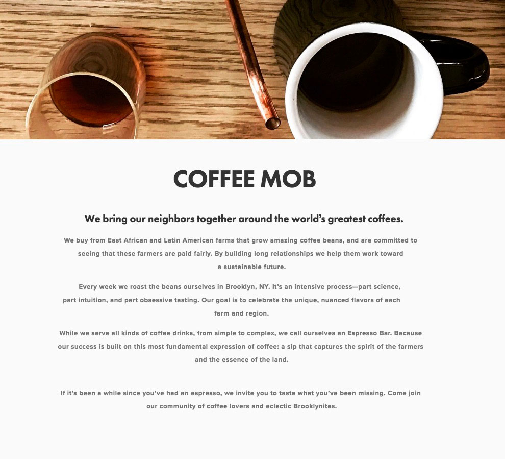 Coffee Mob web content