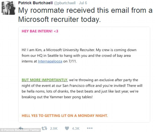 "Microsoft recruiting email; ""HEY BAE INTERN!"""