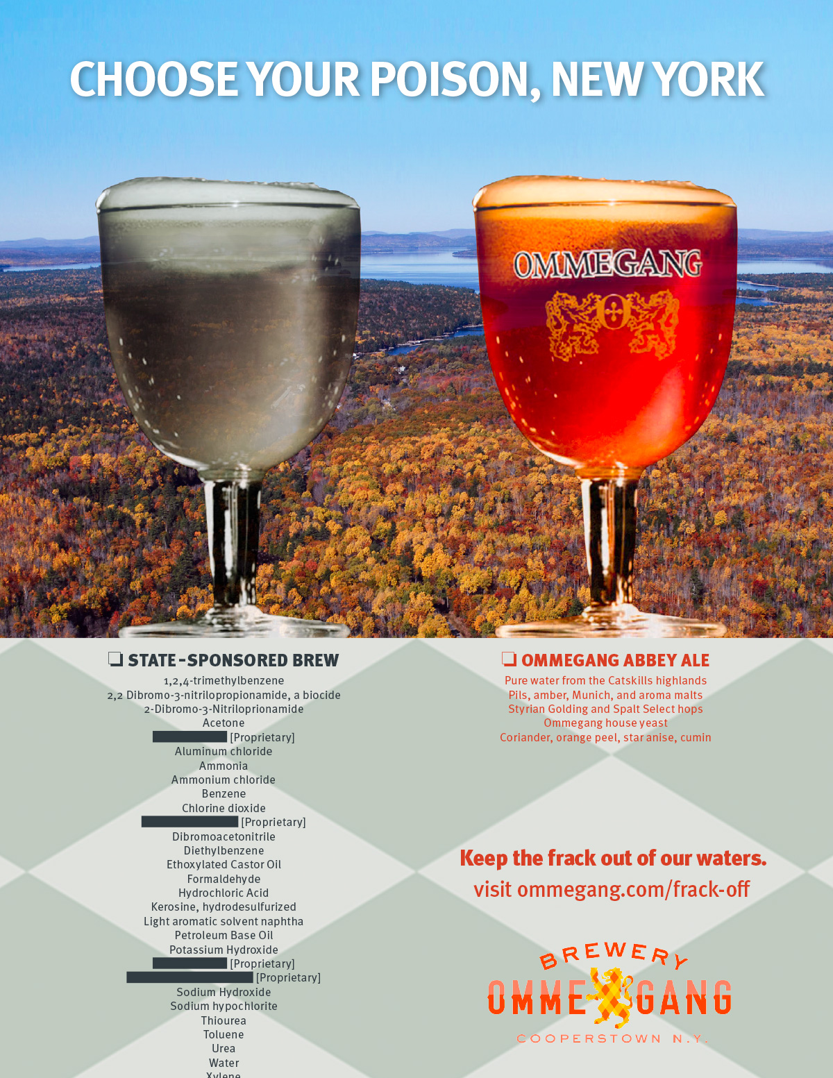 Ommegang Abbey Ale anti-fracking print ad
