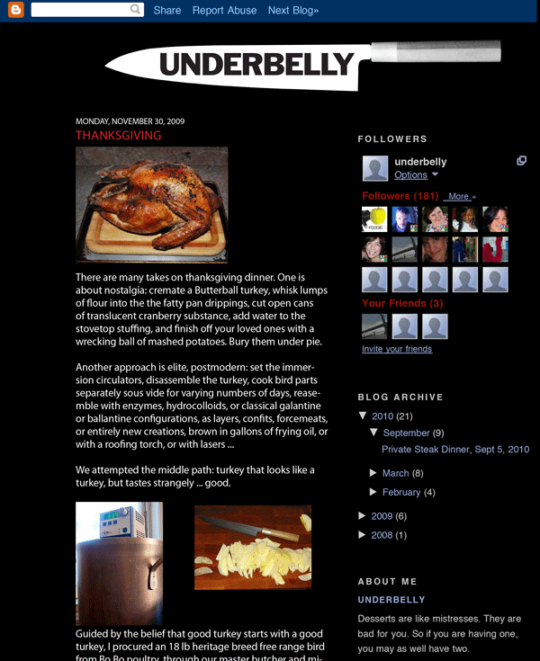Underbelly blog page