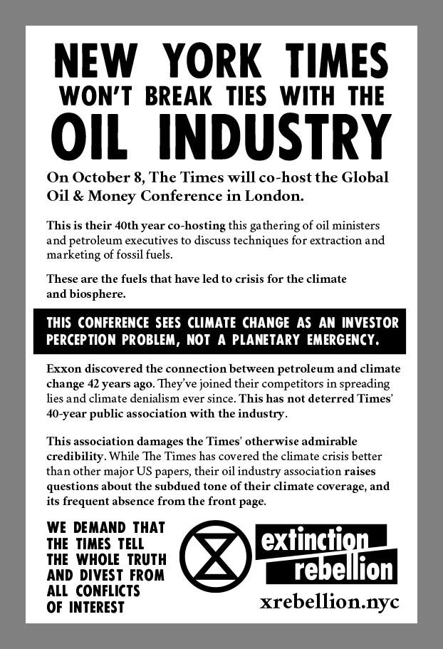 Flyer protesting the New York Times' sponsorship of the international Oil & Money conference, and demanding more serious coverage of the climate crisis.